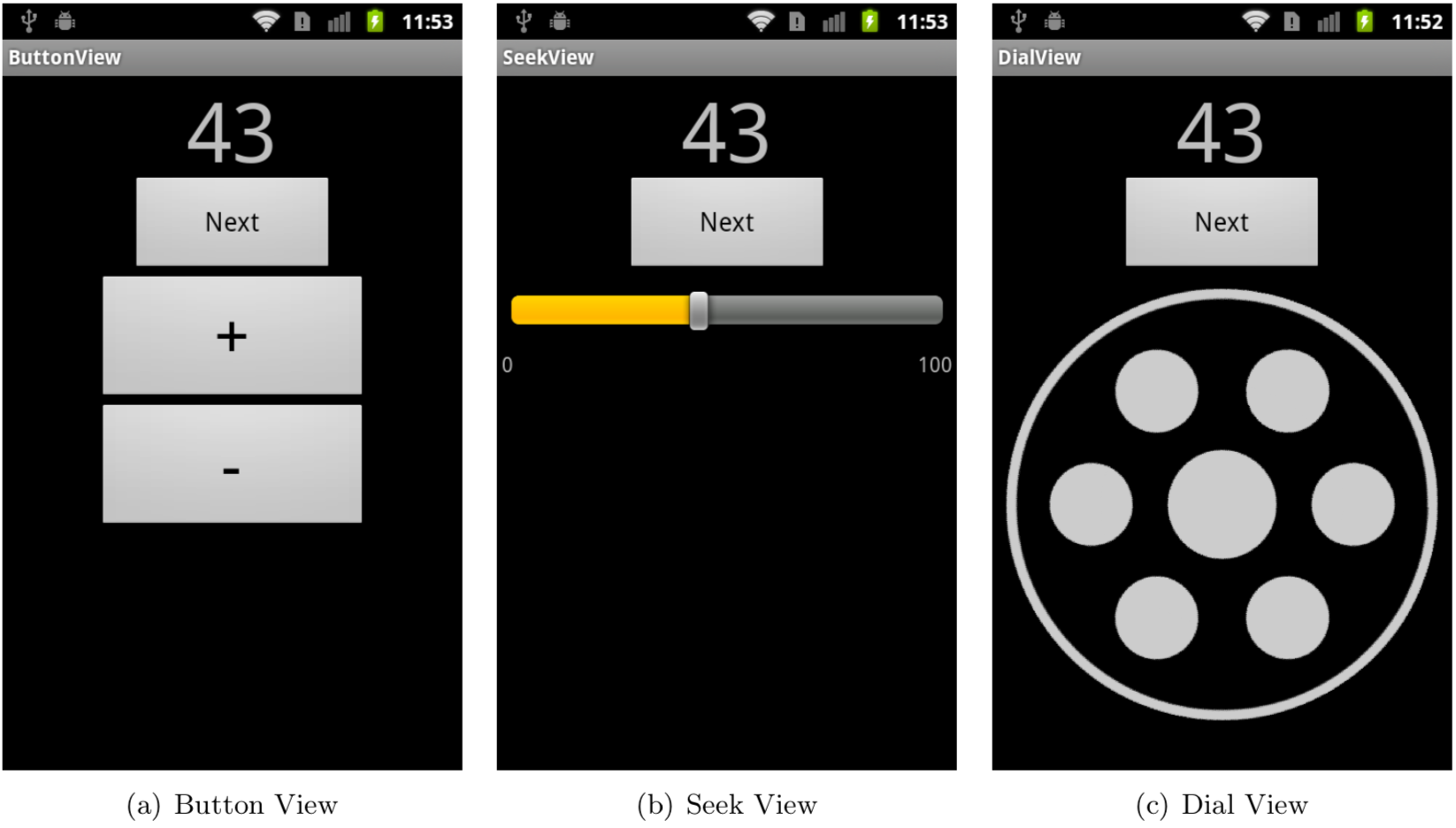 Screenshots of different numeric input on a test Android app