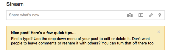 Google Plus post-submission tip